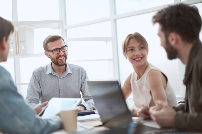 businessman discussing with business team ideas for startup. office weekdays